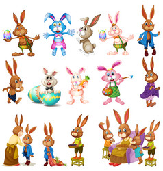 different characters of bunnies vector image vector image