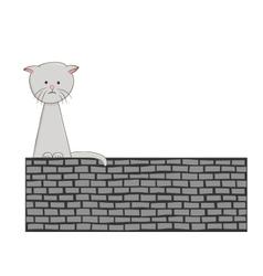 Sad lonely kitten vector image