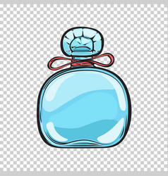 blue glass bottle of perfume isolated vector image