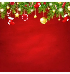 Christmas Red Happy New Year Composition vector image vector image
