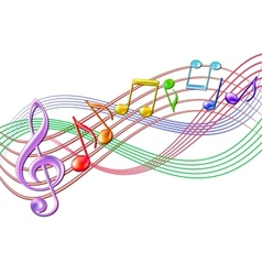 Colorful musical notes staff background on white vector image vector image