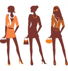fashionable silhouettes vector image vector image