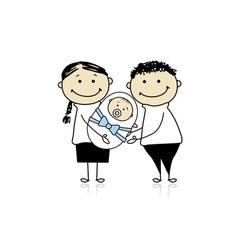 Happy parents with newborn baby vector image vector image
