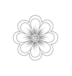 Line natural flower plant with petals vector