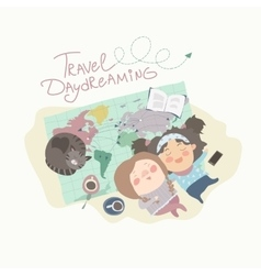 Two cute girls have daydreaming about traveling vector image vector image
