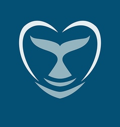 whale tail heart logo sign emblem on blue vector image vector image