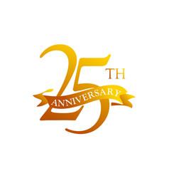 25 ribbon anniversary logo design template vector image