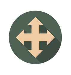 Arrow cross icon with long shadows vector