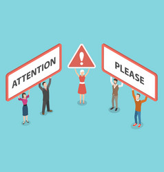 attention please isometric vector image