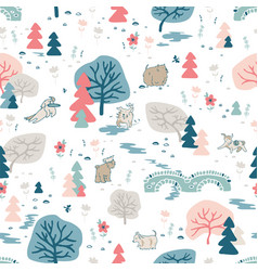 Background with nature and dogs vector