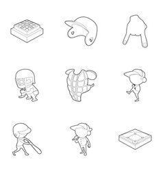 baseball equipment icons set outline style vector image