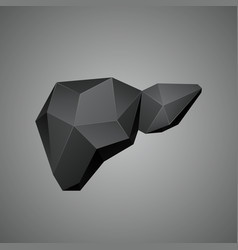 Black low poly human liver on a gray background vector