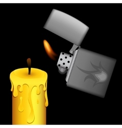 Burning lighter and candle on black background vector image