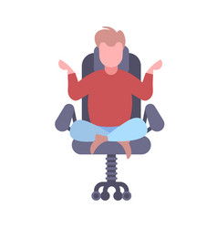 Businessman sitting lotus pose in office chair vector