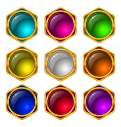 Buttons with gems set round vector