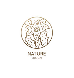 Cactus logo template emblem blossoming vector