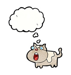 cartoon shocked cat with thought bubble vector image