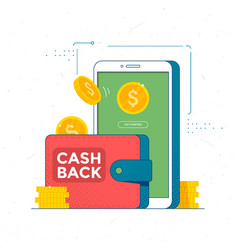 cashback online service concept save money icon vector image