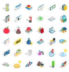Chemistry education icons set isometric style vector