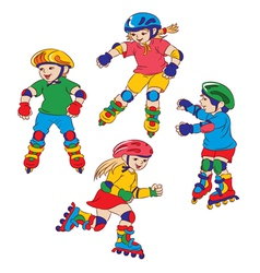 Children on roller skates vector
