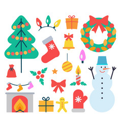 christmas elements icons set vector image