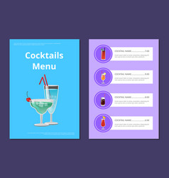 cocktails menu advertisement poster with martini vector image