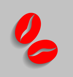 coffee beans sign red icon with soft vector image vector image