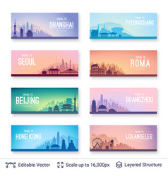 collection of famous asian city scapes vector image