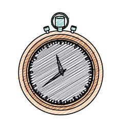 color pencil graphic of stopwatch with thick vector image