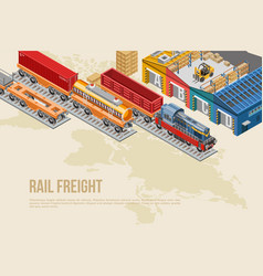 colorful banner for rail freight vector image