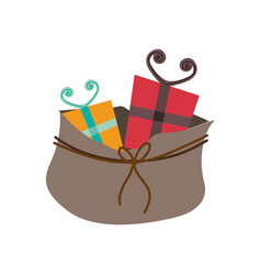 colorful silhouette of bag with christmas gifts vector image
