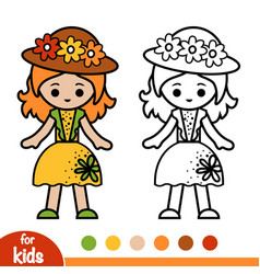 coloring book girl in hat and summer dress vector image
