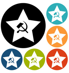 Communist star with hammer and sickle on white vector