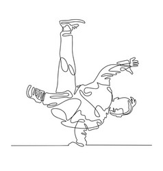 continuous one line drawing of young guy vector image