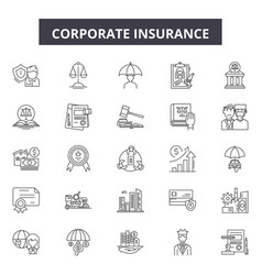 corporate insurance line icons signs set vector image