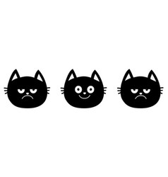cute black cat set line emotion collection happy vector image