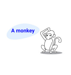 cute little monkey cartoon comic character vector image