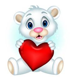 cute little polar bear holding heart love vector image