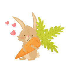 cute rabbit with big carrot in paws pink hearts vector image