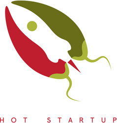 design template of hot rocket startup chili pepper vector image