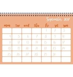 Desk calendar template for month September Week vector