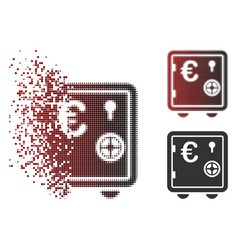 Dispersed pixel halftone euro banking safe icon vector