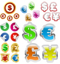dollar euro yen and pound vector image