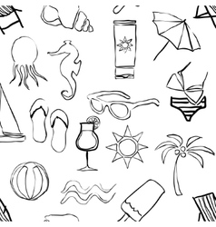 doodle beach seamless pattern vector image