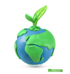 earth day icon 3d object handmade plasticine art vector image