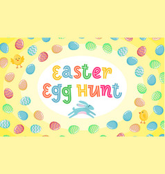 easter egg hunt poster with jumping easter banny vector image