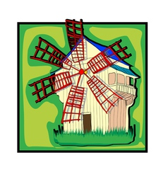 ecological old country windmill vector image