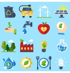 Ecology icons earth day set vector