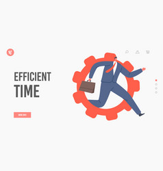 Efficient time landing page template tiny male vector
