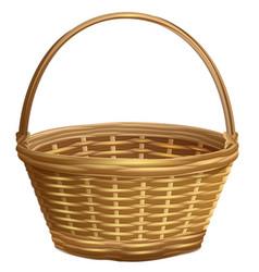 empty wicker basket with handle arc vector image